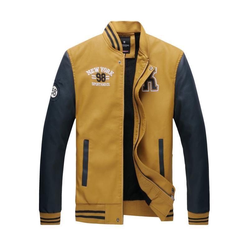 be35ee670 Leather Jackets casaco masculino Jacket Men Embroidery Baseball Jackets Pu  Leather Coats Slim Fit College Luxury Fleece Pilot
