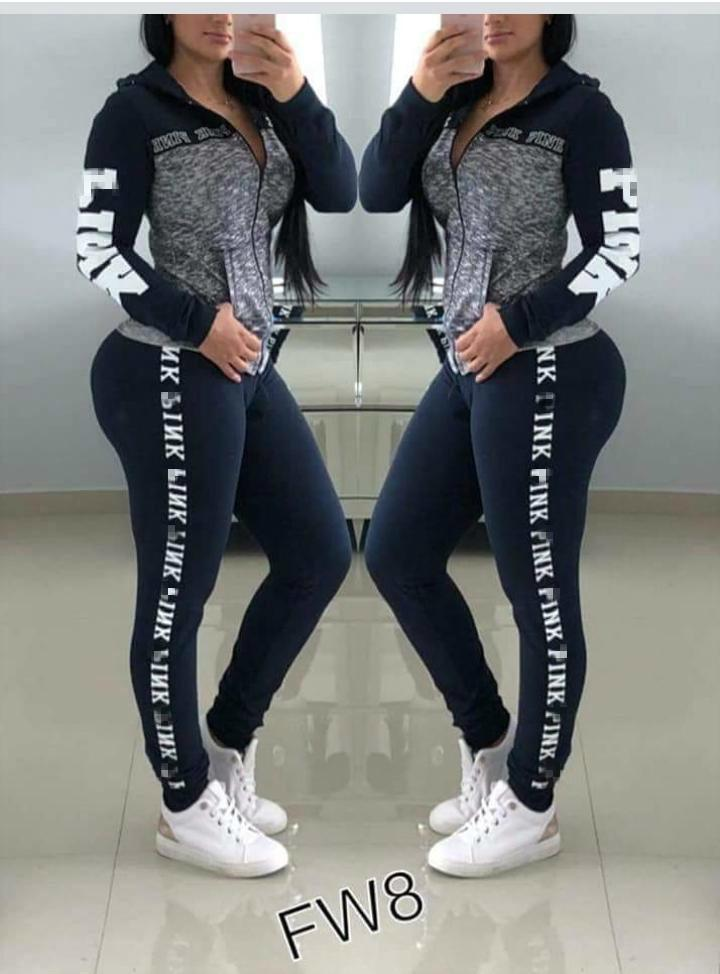 Women Love Pink Letter Tracksuit Plus Size Outfit girls sportswear Hoodie long Pants Trousers 2 pieces set Spring yoga Casual Clothes Suit