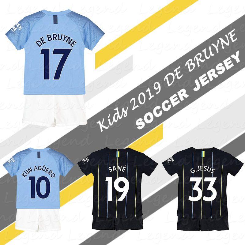 85be0f366 Children De Bruyne Soccer Jersey Kit 2019 Kids KUN AGUERO Sane ...