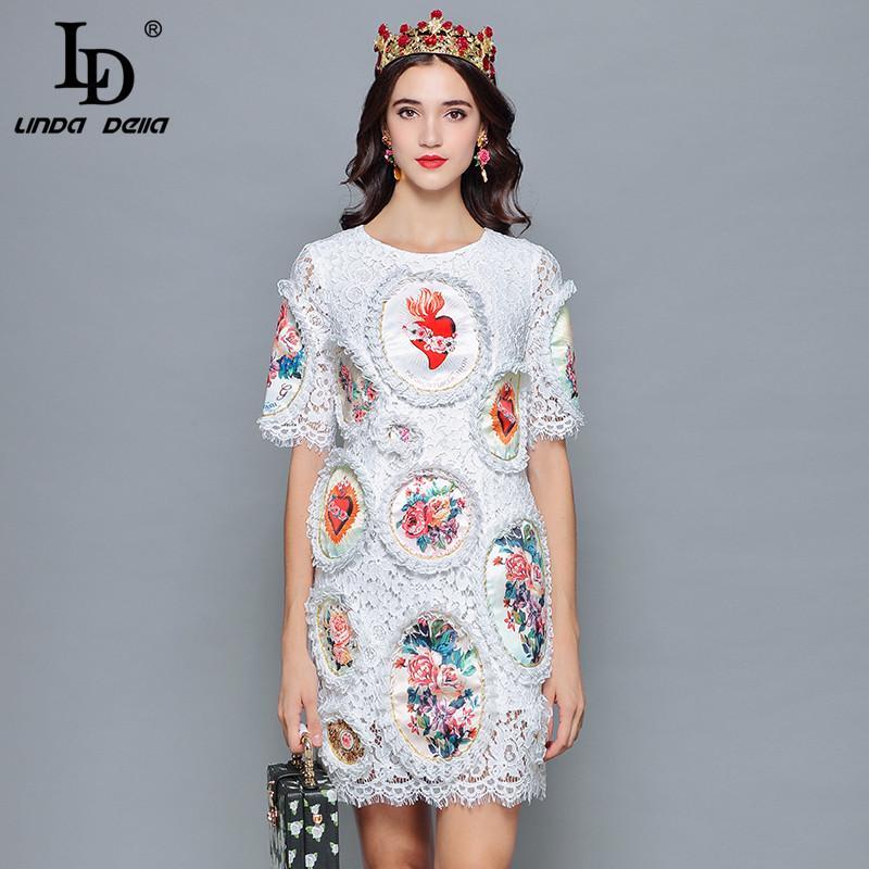 5736c6bd2d66 LD LINDA DELLA 2018 Fashion Designer Summer Dress Women's Short Sleeve  Floral Print Mini Slim Elegant White Lace Dress Bodycon
