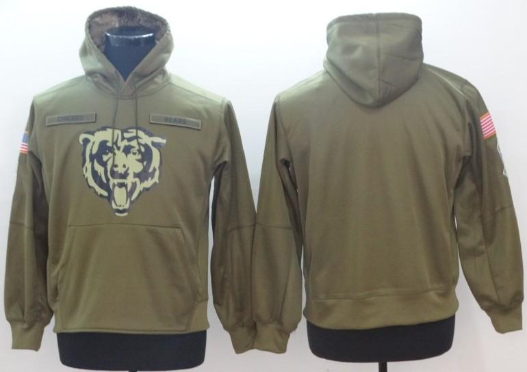 brand new bff75 b4325 Chicago Hoodie Bears Sweatshirt 2018 Men s Olive Salute to Service Sideline  Therma Performance Pullover Hoodies