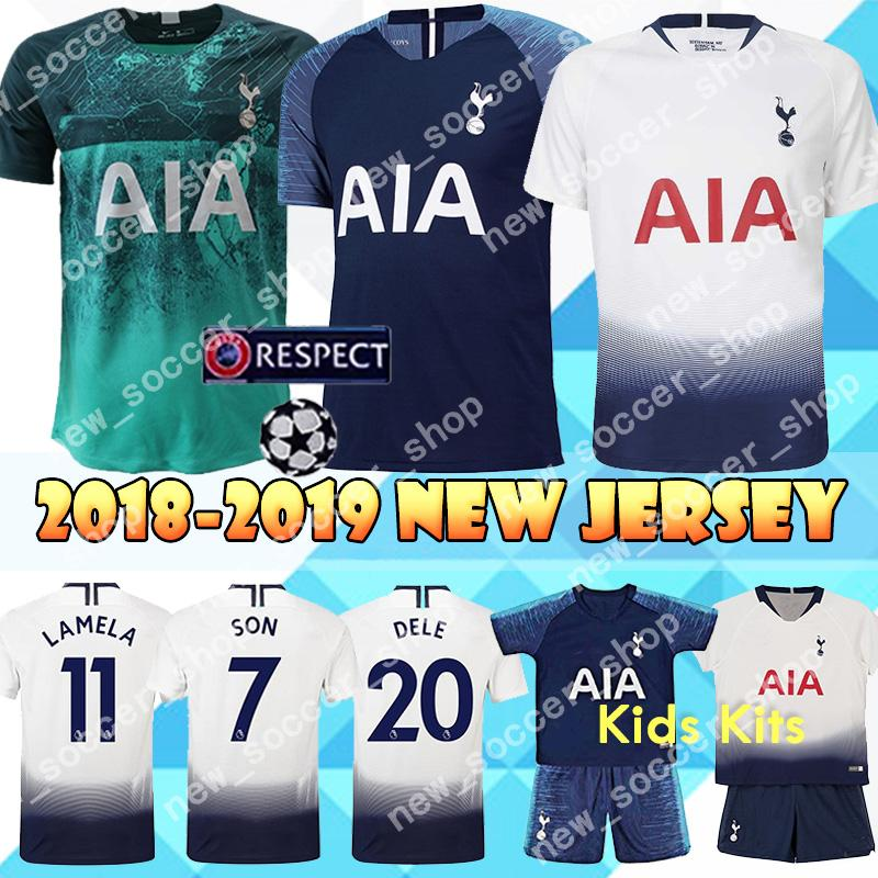 super popular 59926 d41ba 2019 New Men Kids Kits spurs Jerseys Tottenhames KANE Jersey SON LAMELA  DELE ERIKSEN SANCHEZ WANYAMA Away blue Football shirt