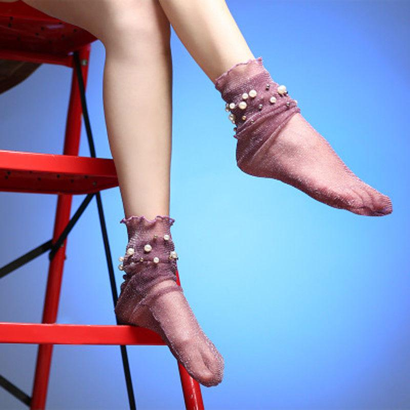 e de dames Femmes Mode Nylon élastique courte cheville Sheer bas de soie avec perle solide mince de bas 6 style