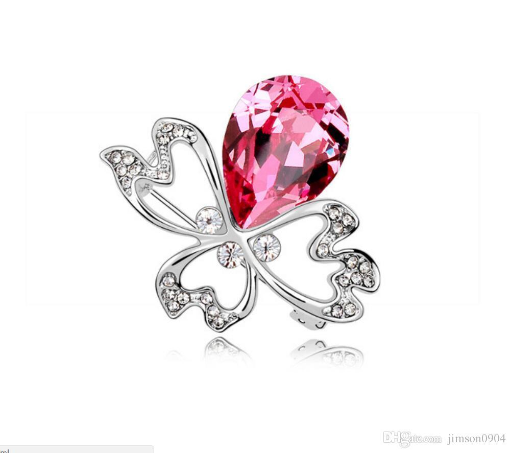 Free shipping fashion jewelry Using Swarovski Elemental Crystal Brooch  Spider flower fashion French dress Lady Broochs hot sale Pins