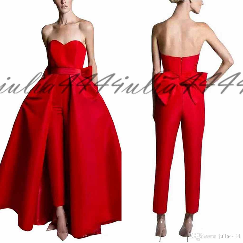 2019 Red Jumpsuits Celebrity Evening Dresses With Detachable Skirt Sweetheart Strapless Satin Guest Dress Prom Party Gowns