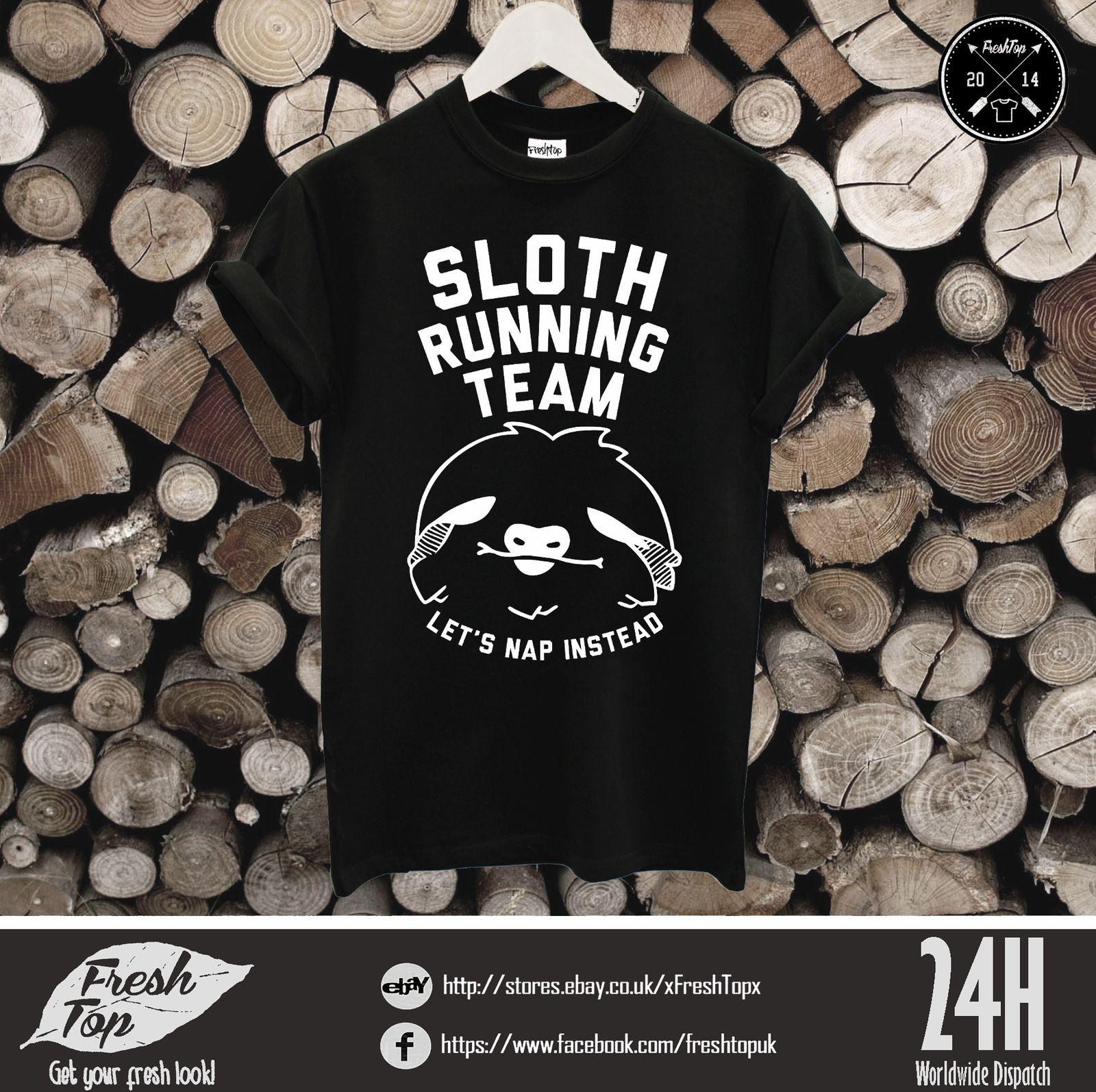 841e3e021 Sloth Running Team Let'S Nap Instead T Shirt Lazy Yoga Running Gym Ask Me  Why Hip Hop Style Tops Tee Shirt Casual Man Short Sleeve Leisure T Shirts  With ...