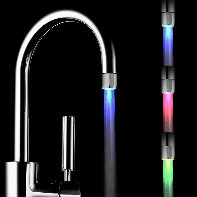 RGB 3 لون الماء مطبخ الحنفية LED صنبور المياه الخفيفة الملونة تغيير الوهج رئيس دش الحنفية مطبخ أجهزة التهوية في حوض الحنفيات 2019