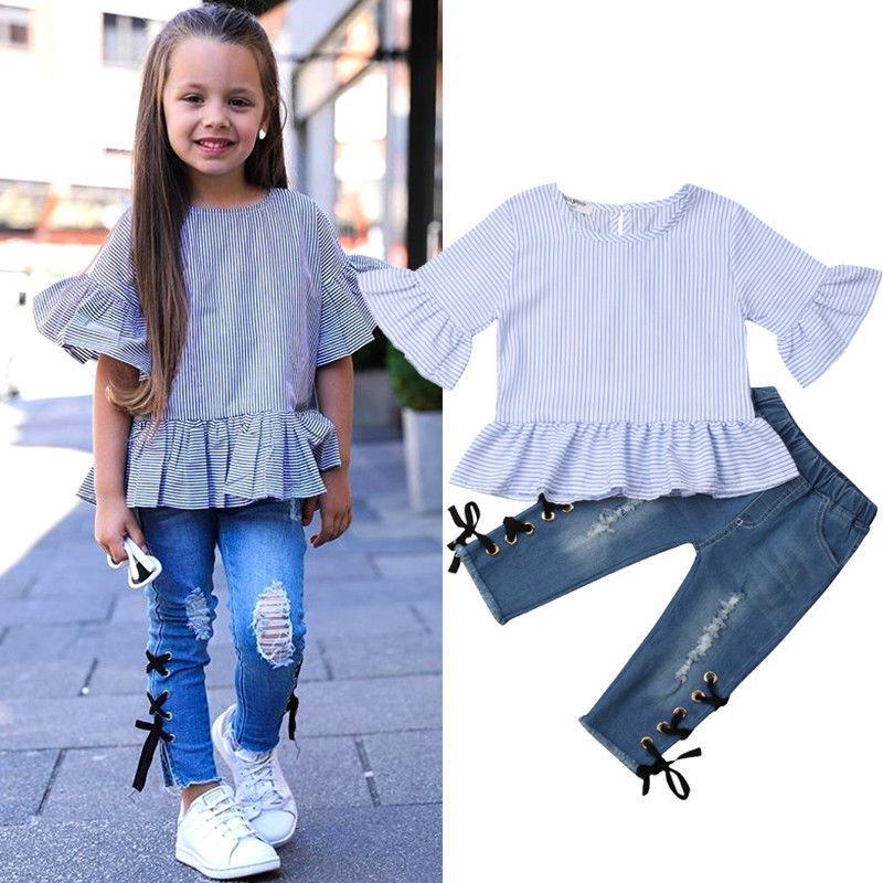52bab6ed2718 Fashion Kids Baby Girl Sets Ruffle Striped Flare Sleeve Blouse ...