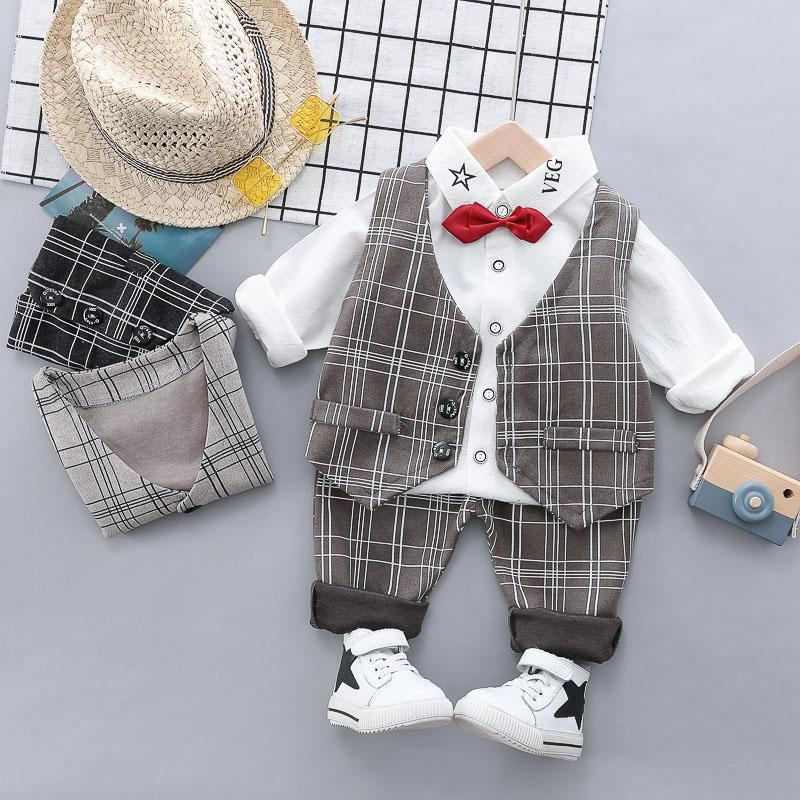 Baby Boy Plaid Suit Casual Long Sleeve Bow-Tie Canonicals Three Set Kids Designer Clothes Boy Baby Kids Clothing Sets 07