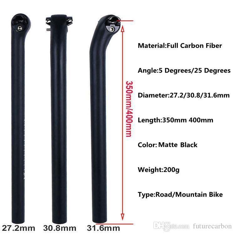 ROAD 27.2mm x 350mm, MTB   Full 3k weave carbon seatpost  !