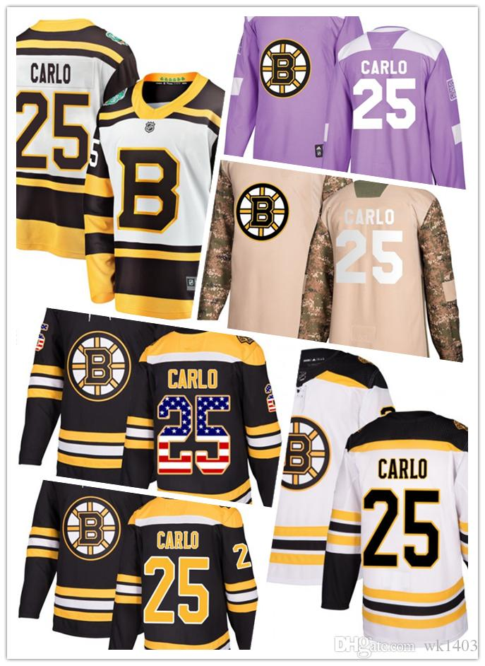 promo code a6b77 635c5 Boston Bruins jerseys #25 Brandon Carlo jersey hockey team men women white  black drift Authentic winter classic Stiched CCM Jersey
