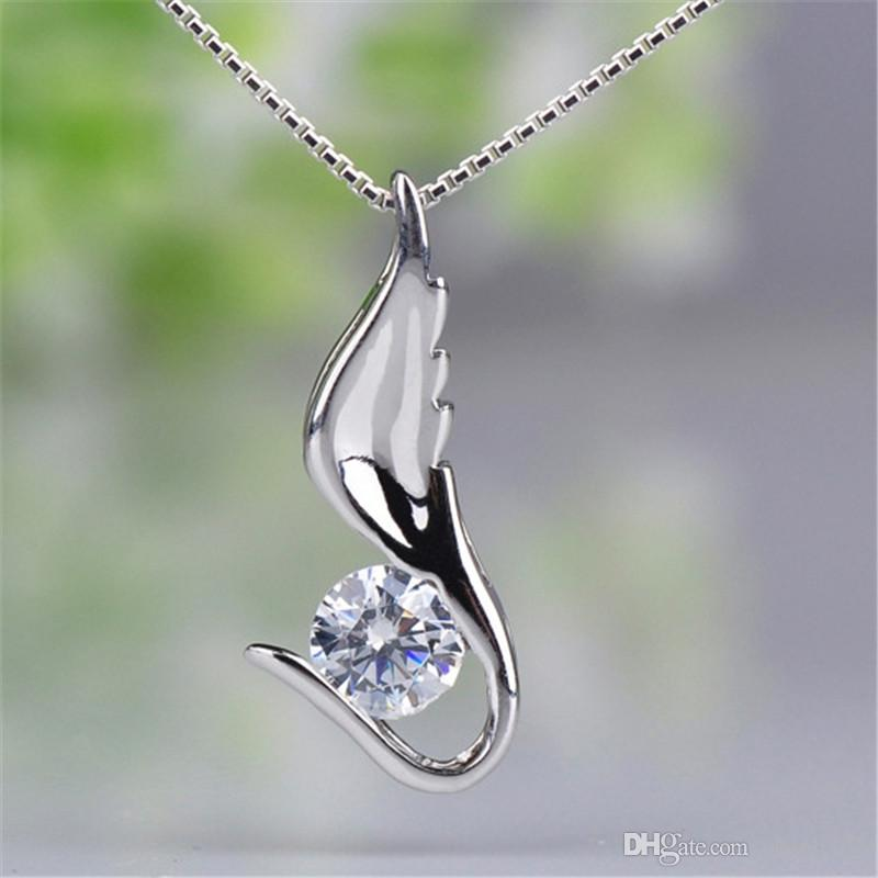 White Purple CZ Crystal from Swarovski Cubic Zirconia Pendant Necklaces For Women Classic Fashion Jewelry Accessories Anniversary Gift W-A30