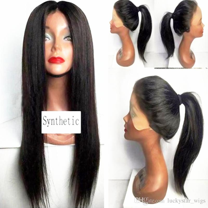 Cheap Heat Resistant Synthetic Natural Soft Long Straight Lace Front Wigs 3inch Black Middle Parting Wigs for Women Drag Queen Glueless Wig