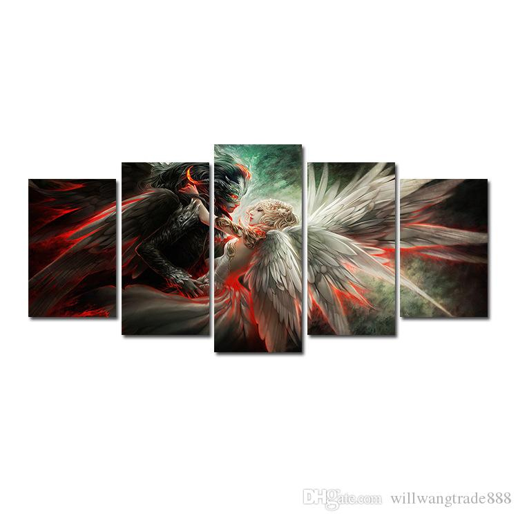 5 Pcs for One Set HD Angels and Demons Love Pattern Unframed Canvas Painting Wall Decoration Printed Oil Painting poster