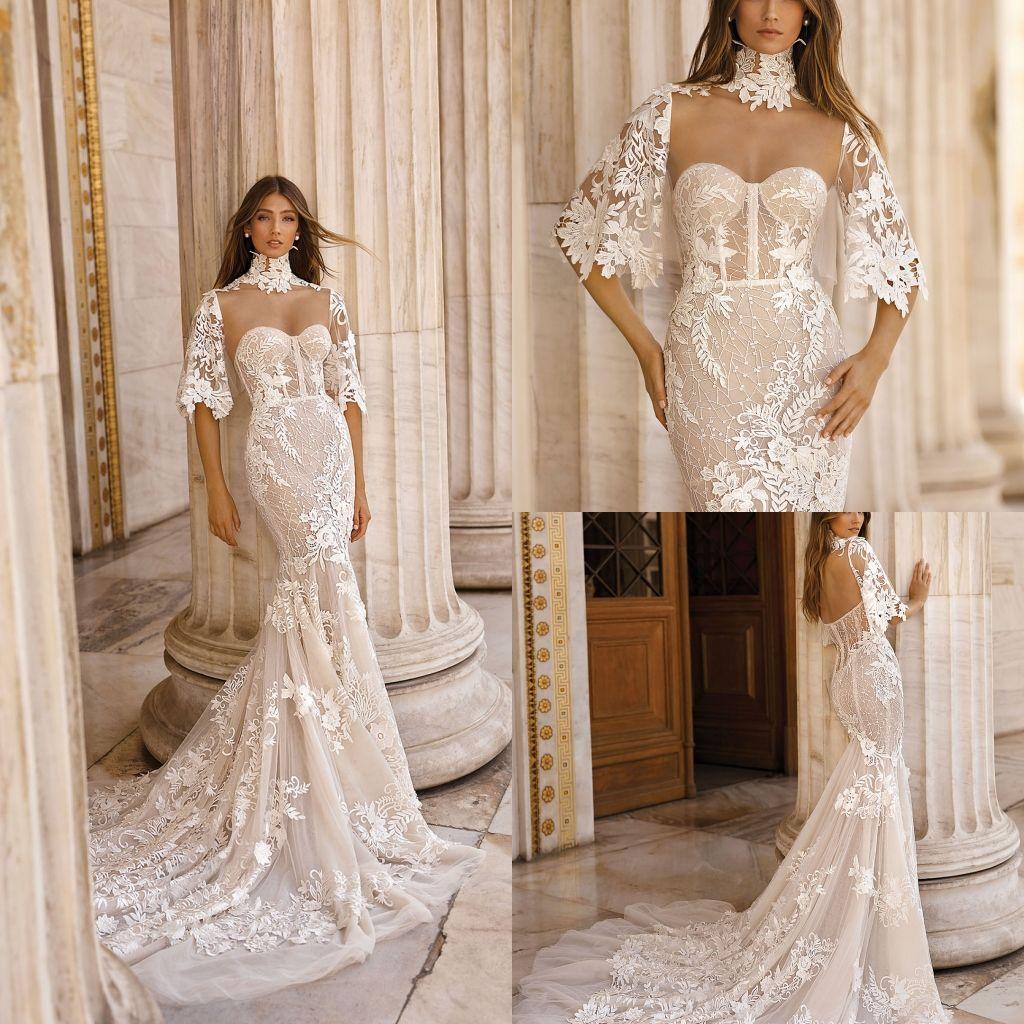 Gorgeous Berta Mermaid 2019 Wedding Dresses With Wrap