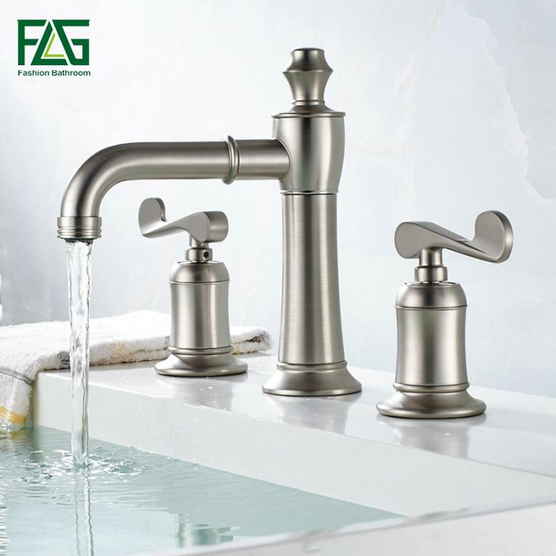2019 FLG Luxury Basin Faucets Dual Holder Three Hole Bathroom Faucet  Brushed Nickel Two Handle Bathtub Taps Deck Mounted 301 From Wuzhongtin, ...