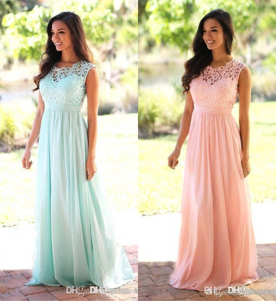 Affordable Wedding Guest Dresses: Cheap Lace Appliqued Bridesmaid Dress Mint Green Long