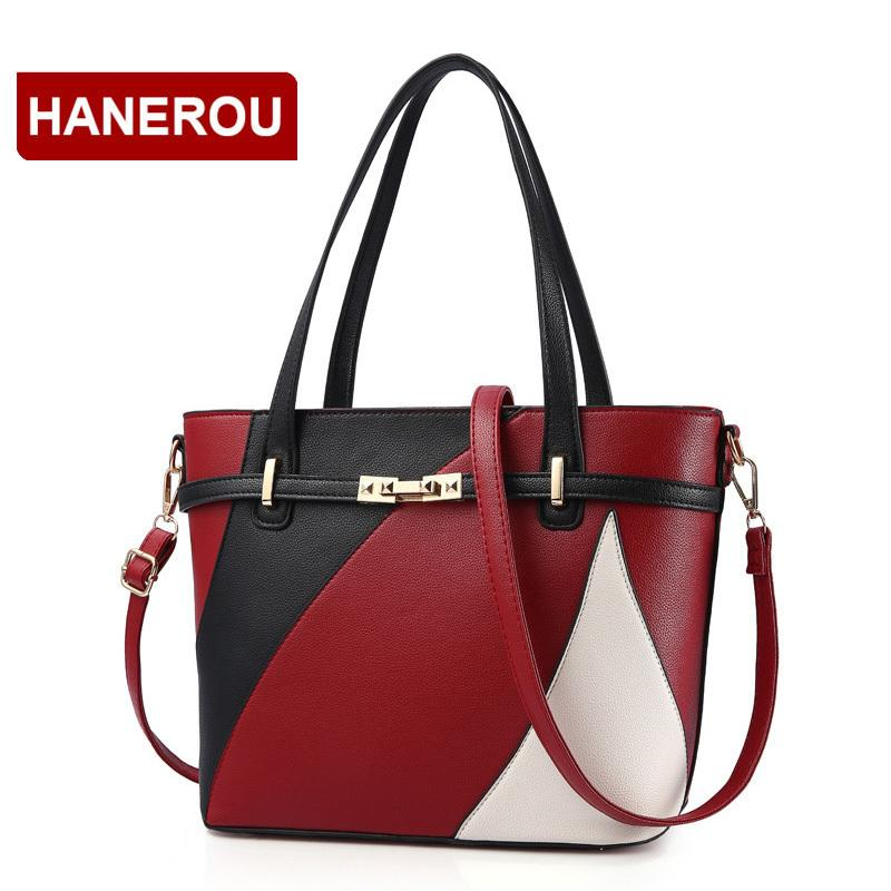 Women Leather Handbags Shoulder Bag Women's Casual Tote Bag Female Patchwork Handbags High Quality Sac A Main Ladies Hand Bags J190505