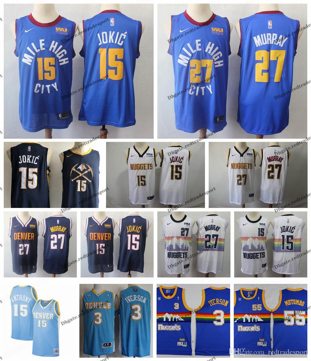 e86a75f5bfb6 2019 2019 Earned  15 Denver Nikola Jokic Jamal Murray 27 Dikembe Mutombo 55  Nuggets Edition Basketball Jerseys City Allen Iverson Carmelo Anthony From  ...