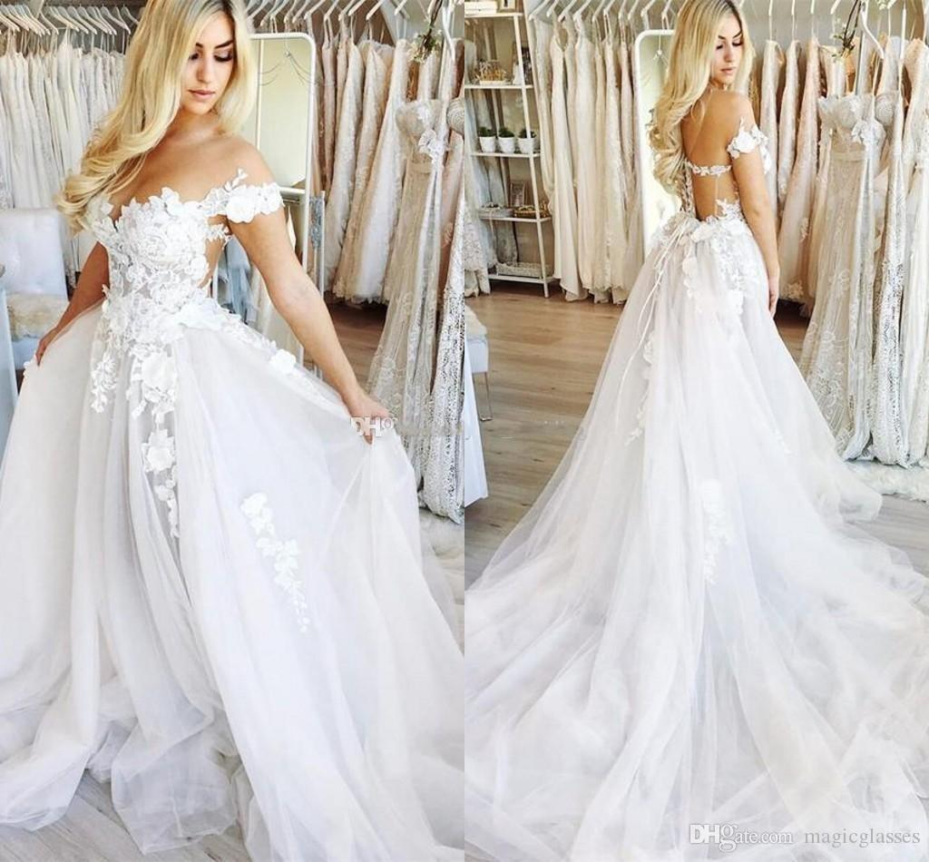 Abiti da sposa sexy al largo della spalla Appliques Tulle Floor Length Illusion Wedding Gowns 2019 Abiti da sposa