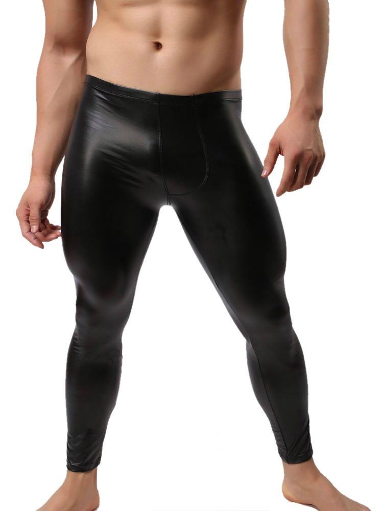 95e8fb910b2427 2019 Wholesale Fashion Mens Black Faux Leather Pants Long Trousers ...