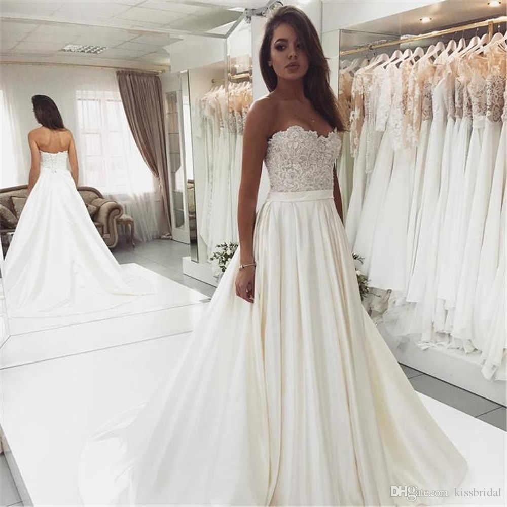 Discount Strapless Sleeveless Wedding Dresses 2019 Robe De