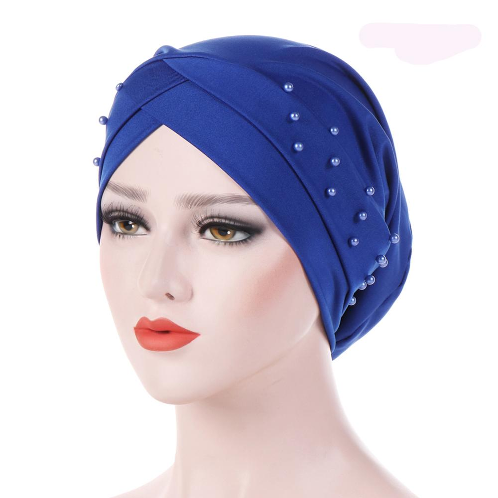 2019 New Women Elastic Turban Hat Muslim Hijab Islamic Jersey Beads ... e5a358036aae