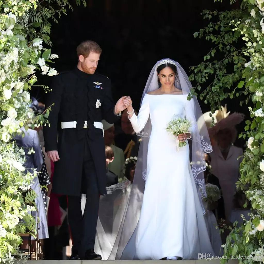Prince Harry And Meghan Markle Wedding Dresses Wedding Party Gowns Bateau Neck Long Sleeves Sweep Bridal Wedding Gowns Robe De Mariee