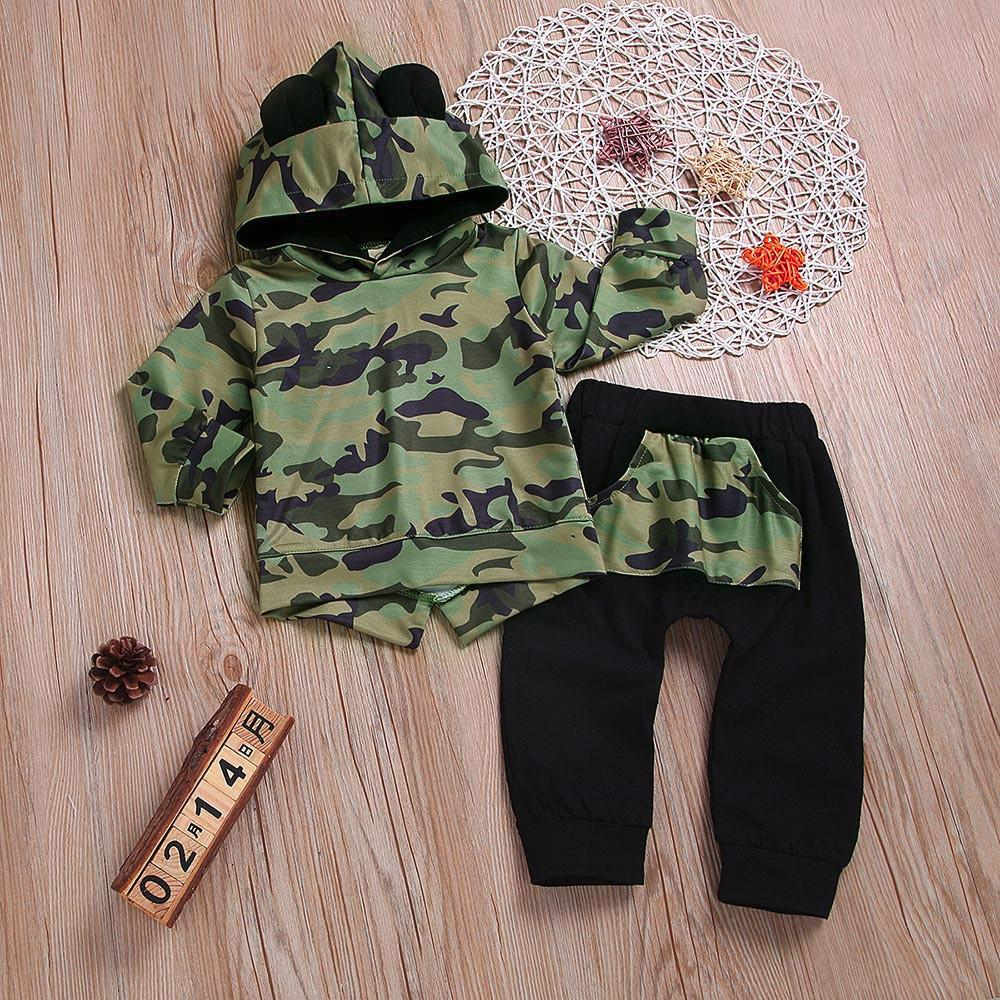 863901629ed7 2019 Good Quality Toddler Baby Clothing Set Boy Hoodie Cartoon Ears Camouflage  Sweatshirt Tops Pants Cloth Sets Conjunto Infantil From Xiaocao02, ...