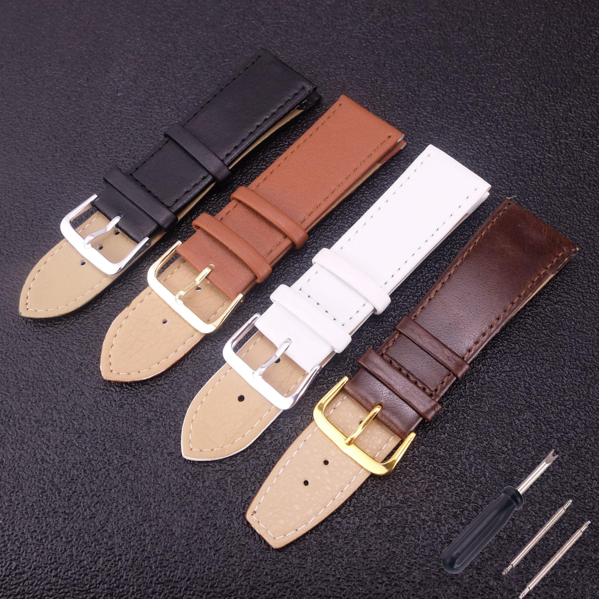 c81d617167e8 Compre Correa De Reloj De Cuero Auténtico Para Mujer Banda De Reloj Con  Herramienta 2 14 16 18 20   22mm Correas De Cuero Genuino Para Hombres  Cinturón ...