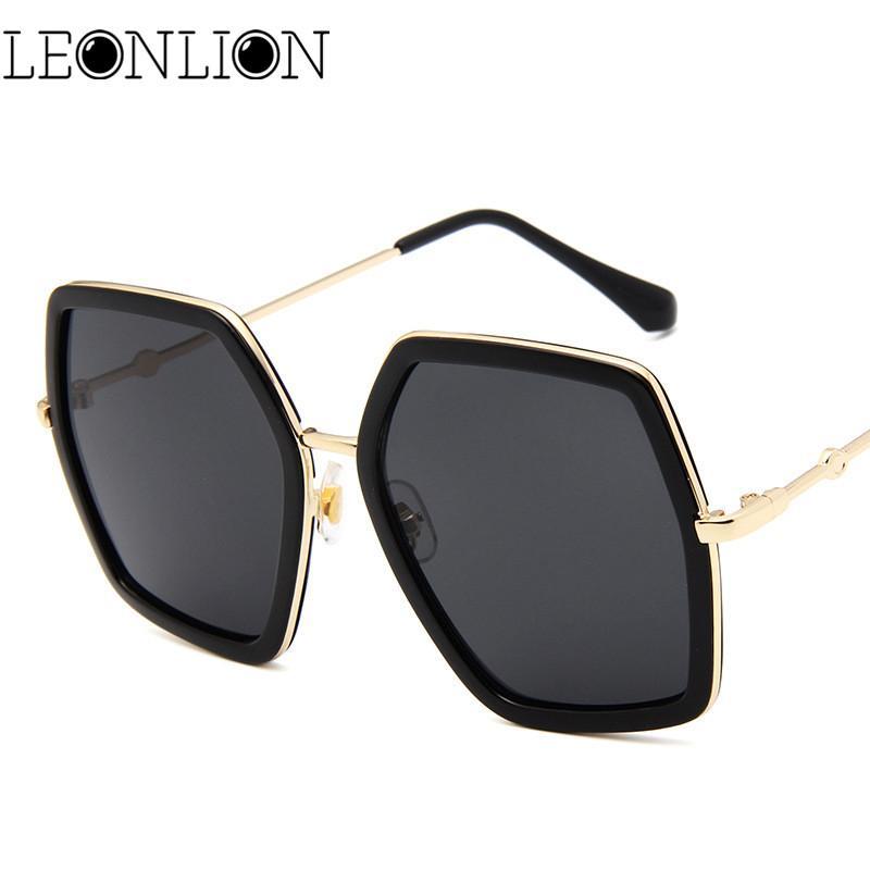 LeonLion Luxury Polygonal Gafas De Sol Con Montura Grande Mujer   Hombre  Gafas De Sol De Viaje De Diseñador Para Mujeres Gafas Retro Clásicas Para  ... 67d72427c82b