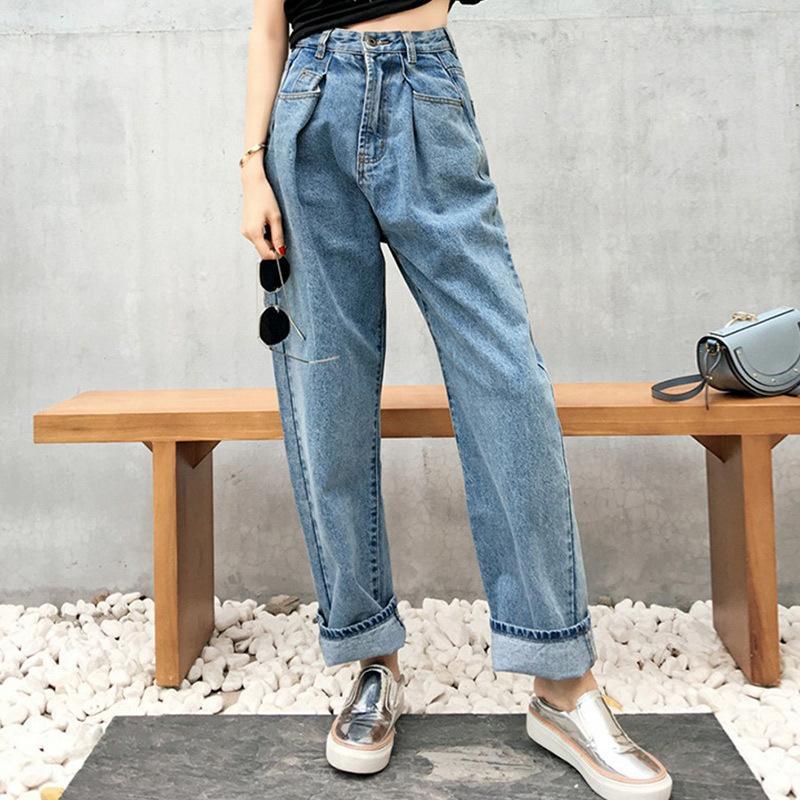 fb1fe0bdffa1 Großhandel Hohe Taille Lose Breite Bein Taschen Frauen Jeans 2018 Herbst  Winter Cusual Weibliche Hose Hip Hop Stil Streetwear Harem Hosen Von Ycqz2,  ...