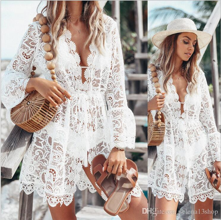 New women's sexy lace long-sleeved deep V dress hollow embroidery shirt beach skirt summer travel breathable comfortable dress fashion
