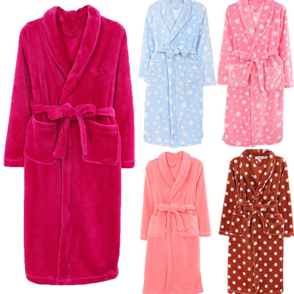 Winter Warm Bathrobes Women Dots Star Print Warm Flannel Long Sleeve Bath Robe Dressing Soft Gown Sleepwear
