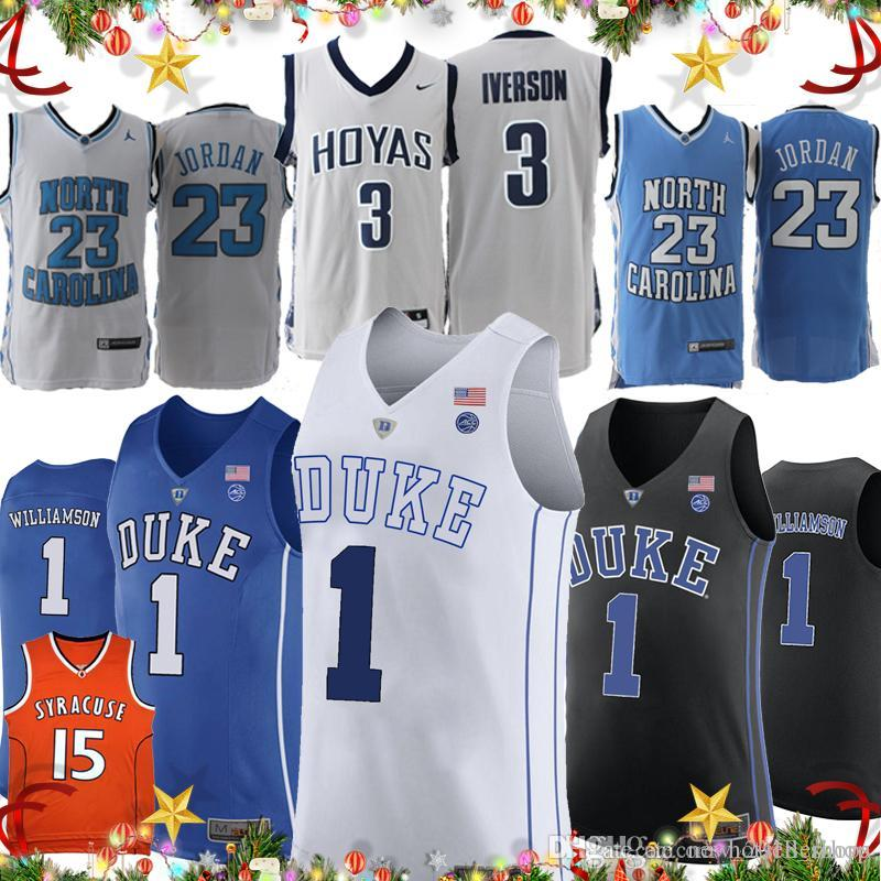 f50f068f2 2019 NCAA North Carolina Tar Heels Williamson Zion 1 23 Michael 15 Carmelo  Anthony College AI Answer Duke Blue Devils Syracuse Basketball Jerseys From  ...
