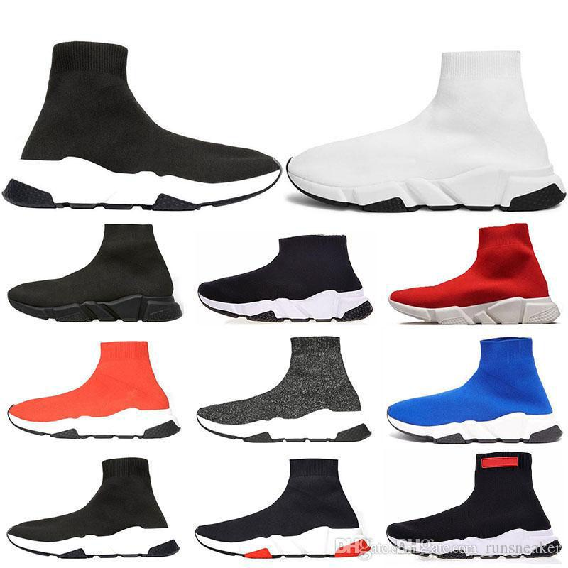 2019 designer uomo donna Speed ​​Trainer moda Luxury Sock Shoes nero bianco blu glitter Flat mens Scarpe da ginnastica Runner sneakers taglia 36-45