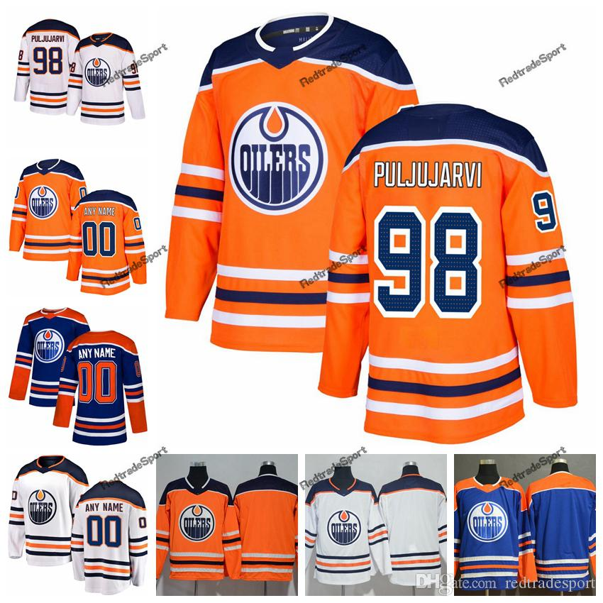2019 2019 Customize Edmonton Oilers Jesse Puljujarvi Hockey Jerseys  Alternate Mens Blue Orange 98 Jesse Puljujarvi Stitched Jerseys Shirt S  XXXL From ... 0d3c3db44