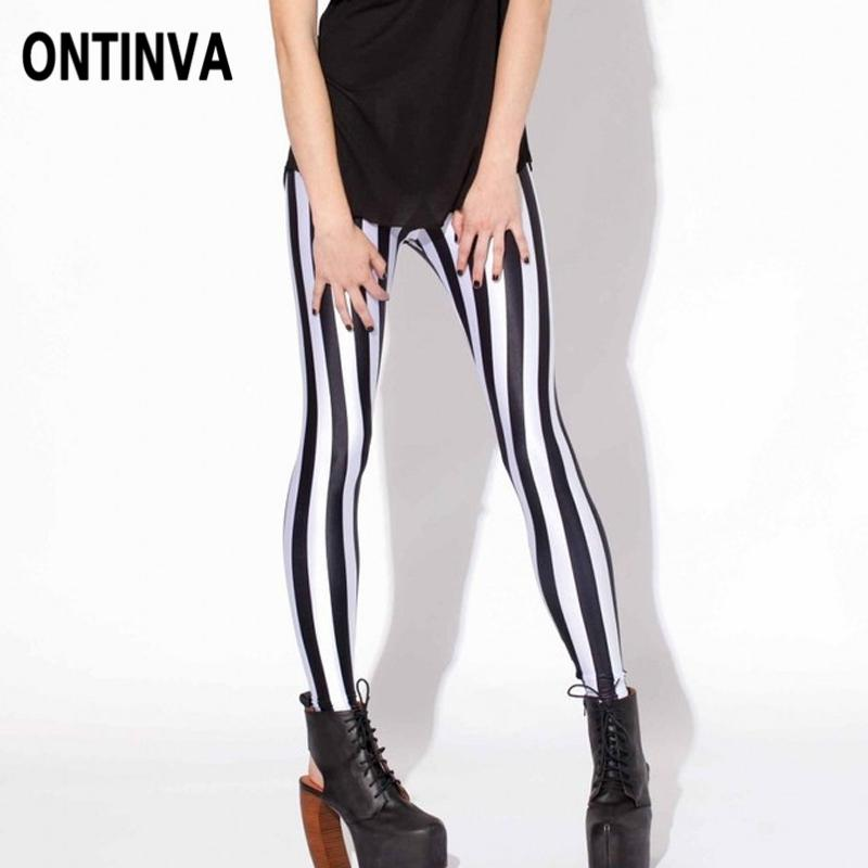 3bacb958369e0 2019 Women Black And White Vertical Leggings Stretch Striped High Waist  Jegging Pants Fall Spring Office Ladies Skinny Casual Legging From Vineger,  ...