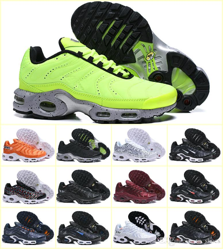 New Design 2019 Original Tn Plus Prm Men Running Shoes Wmns Air Sports Plus  Tn Se OFF Black White Chaussures Tn Trainer Luxury Sneakers Running Shoes  For ... aceeee178