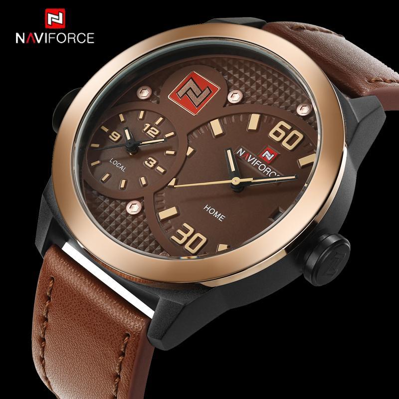 d2f9fc6d7dd Compre NAVIFORCE Marca De Luxo Relógios Homens Relógio De Quartzo Relógio  De Couro Homem Esportes Relógio Do Exército Dupla Fuso Horário Relogio  Masculino ...