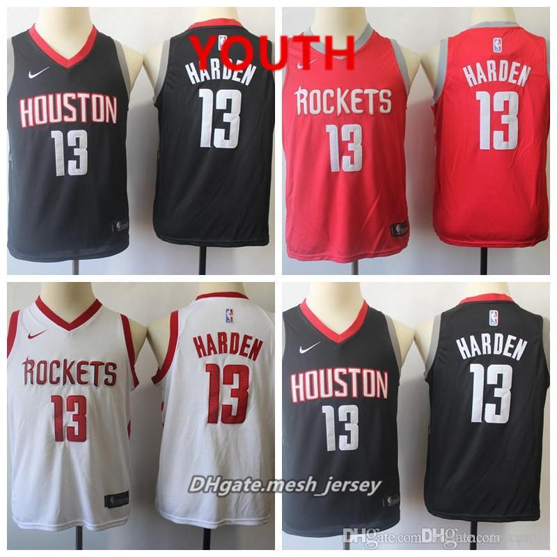 pretty nice 9d06a 01ed4 Youth Houston Jersey Rockets James Harden Stitched Baketball Jersey - Black  White Red