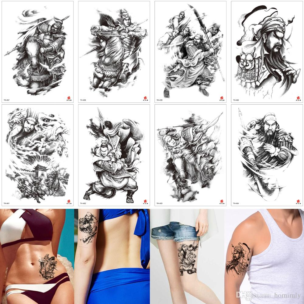 d5a759c9ae8e0 Fake Black Person Tattoo Waterproof Temporary Body Art Arm Leg Back Guan Yu Decal  Tattoo Stickers For Male Female Transfer Paper Lover Party Temporary ...