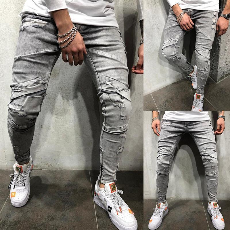 Jeans mi-automne taille Ripped long Hommes Crayon Pantalons simple Skinny Homme Pantalons Washed Mens Designer gris