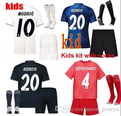 8bb18e3df9ef4 Cosmos Blue Equipaciones De Futbol Real Madrid Kids 2019 Camisetas Realmadrid  Soccer Jerseys Maillots Foot Equipacion Football Kits 2018 19 Real Madrid  Kids ...