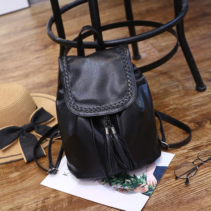 316d17bfcc80 PACGOTH Solid Korean Style Black PU Leather Shoulder Bags Women S Backpack  Drawstring Girl S Casual Tassel Backpack Jansport Backpacks School Bags  From ...