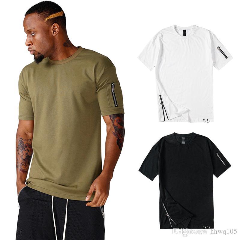 Sport Manga Jogger Camiseta Tops Largas De Chico Hip Hop Cremallera Nuevo Camisetas Diseño Negro Blanco Corta Top 100Algodón Hombre 0NP8OkZnwX