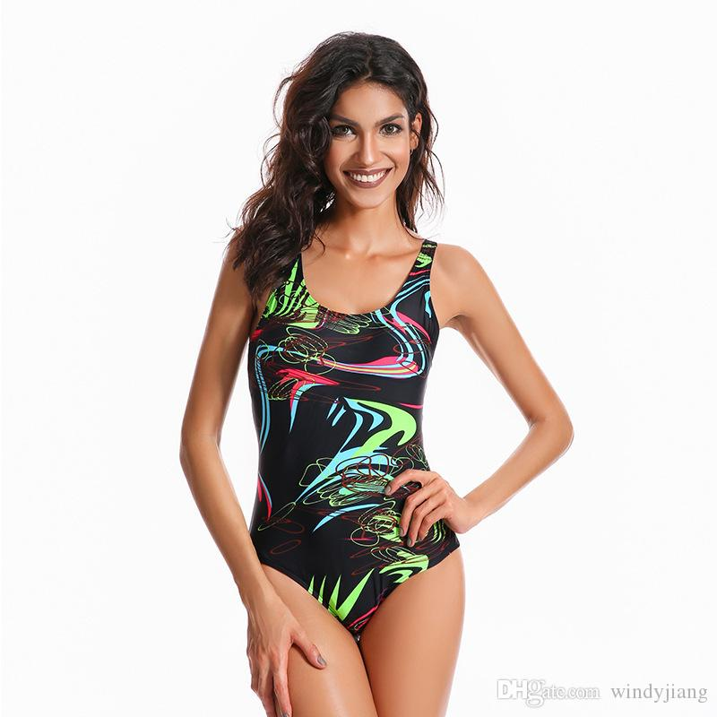 new styles af590 5f72b Mode Bedeckt bauch Schlank druck Bikini Bademode für Frauen Badeanzug  Beachwear Sommer ein stück Sexy Lady Badeanzug