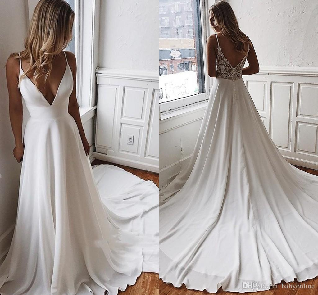 Simple Designed Satin A Line Wedding Dresses Sexy V Cut Low Back Spaghetti Strap Appliques Long Train Bridal Summer Robe de mariee