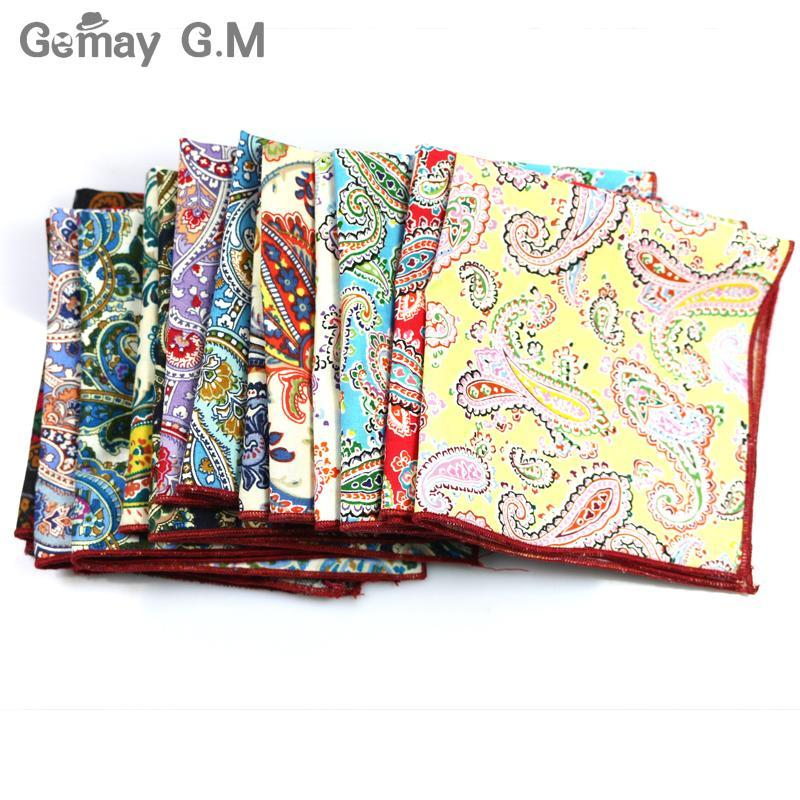 Brand Casual 100% Cotton Handkerchiefs for Men Cashew Floral Printed Pocket Square Male Wedding Party Handkerchief Towels