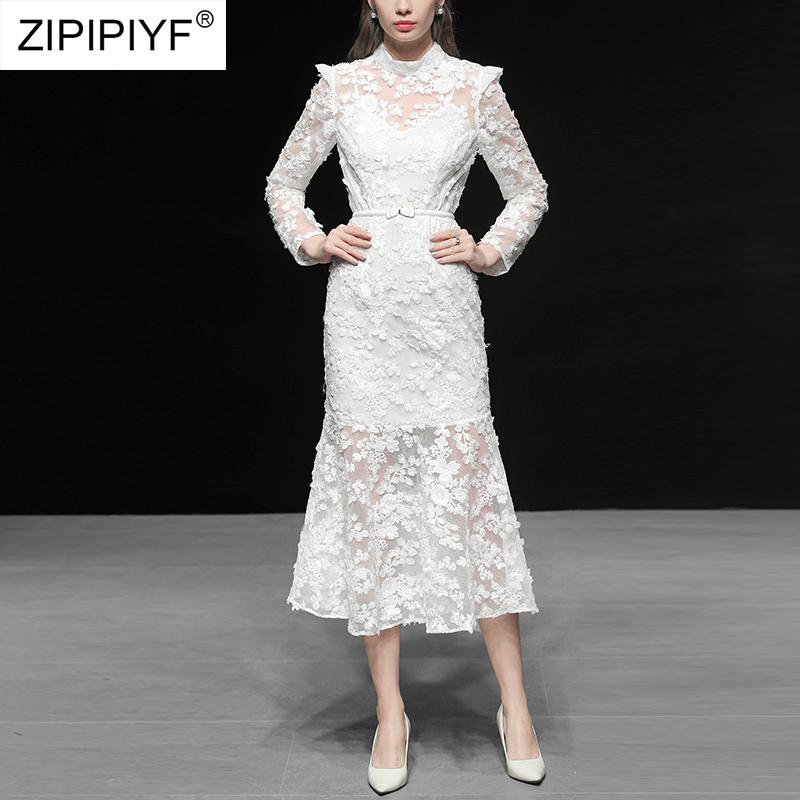 731295c6794 2019 New Arrive White Lace Women Runway Dress Elegant Long Sleeve Hollow  Out Sexy Party Fashion Designer Elegant Dress C2005 Red Dresses Yellow Dress  From ...